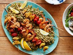 Shrimp Kebabs with Lentil-Herb Salad recipe from Food Network Kitchen via Food Network