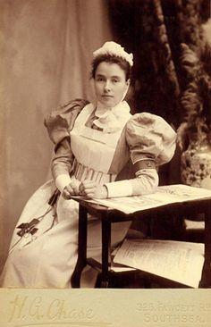 "Victorian era nurse wearing a utilitarian chatelaine...I'm glad the ""uniform"" has changed!"