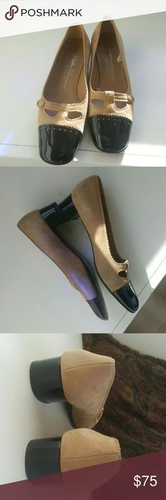 Salvatore Ferragamo shoes Made in Italy  Sz 6.5 B 1.5 heel Patent leather & Suede  Just a few scuffs on inside back of shoes, see photos Salvatore Ferragamo Shoes