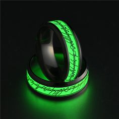Hot Stainless Steel Ring For Lover Luminous Green And Blue Letter Ring Glow In The Dark Men's Fashion Jewelry, Women Jewelry, Cool Rings For Men, Smart Ring, Matching Wedding Bands, Resin Ring, Wood Rings, One Ring, Stainless Steel Jewelry