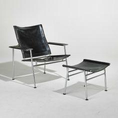 Yrjo Kukkapuro; Chromed Steel and Leather Lounge Chair and Ottoman, 1960s.