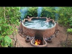 How To Make Brick Wall & Build Beautiful Heated Swimming Pool By Talented Bushmen Diet Exercise Healthy Life Video Outdoor Bathtub, Hot Tub Backyard, Small Backyard Pools, Backyard Landscaping, Diy Pool, Small Pools, Natural Swimming Pools, Swimming Pools Backyard, Lap Pools