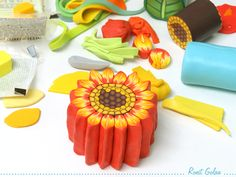 Sunflower polymer clay cane - in process, by Ronit Golan