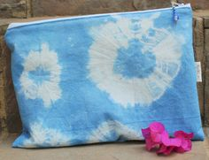 Shibori Dyed Pouch Cosmetic bag Make-up bag by KennaInAfrica Company Gifts, Unique Bags, Stocking Fillers, Bag Organization, Shibori, Bag Making, Bridesmaid Gifts, Cosmetic Bag, Just For You