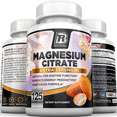 BRI Nutrition Magnesium Citrate 125 Count 400 mg per Veggie Capsules 125 Sevings * Click image for more details-affiliate link. Magnesium Citrate, Magnesium Supplements, Magnesium Glycinate, Heath And Fitness, Best Protein, Fast Metabolism, Vegan Foods, Brie