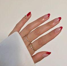 Hair And Nails, My Nails, Red Tip Nails, Red Shellac Nails, Zebra Nails, Brown Nails, Gel Nail, Minimalist Nails, Minimalist Fashion