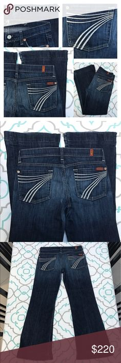 """Awesome 7FAM Dojo Jeans27 3/4 27.5"""" Inseam Awesome 7FAM Dojos Size 27 (3/4). Already Hemmed for you! : ) 27.5"""" This is more of a petite length Inseam. 7.75"""" Rise. 14.5"""" Across Back. Good Stretch. Dark Blue Wash. White 7's. Light Fading. Preloved! Good Used Condition. Light Fray from Factory Distressing & Wash & Wear. A few missing stitches on 7's. Beloved Dojos! Favorite Color Combo. New York Dark with White 7's. 7 FAM! Dojos!!! Anthro! Anthropologie! Ask me any questions! : ) 7 For All…"""