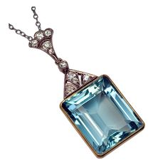 Art Deco Russian Aquamarine Pendant c1930 | From a unique collection of vintage drop necklaces at https://www.1stdibs.com/jewelry/necklaces/drop-necklaces/