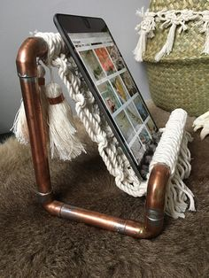 Copper and Macrame Ipad Holder / Cookbook holder / Industrial