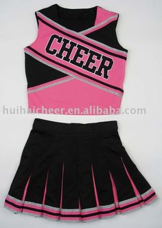 Source cheerleading uniforms:pink and black color on m.alibaba.com