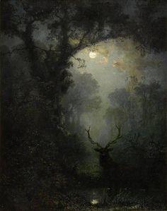 Eugen Krüger moonlight, woods, stag