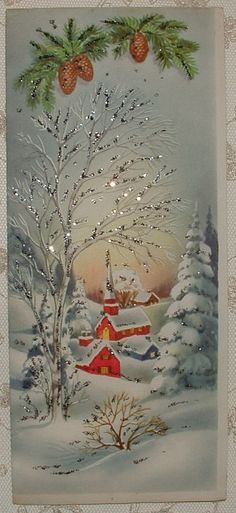 Glittered - Snowy Village - 1950's Vintage Christmas Greeting Card