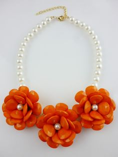 Rose Gold Flower Pearl Necklace for Party