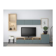 БЕСТО Шкаф для ТВ, комбин/стеклян дверцы - под беленый дуб/Вальвикен синий/серый, прозрачное стекло, направляющие ящика, плавно закр - IKEA