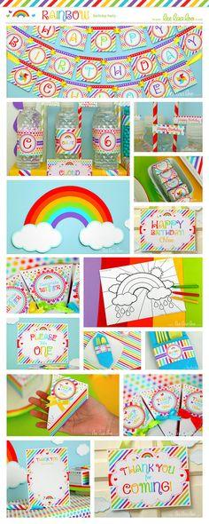 Rainbow Birthday Party  Favor Tags & Bonus Favor Box by LeeLaaLoo, $5.00