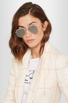 Le Specs - Empire Aviator-style Gold-tone Mirrored Sunglasses - one size