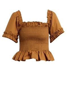 New Molly Goddard Sydney ruffle-trimmed smocked cotton top. Womens Clothing from top store Fashion 2020, 90s Fashion, Fitness Fashion, Cool Outfits, Casual Outfits, Belly Shirts, Fairy Clothes, Crop Top Shirts, Crop Tops