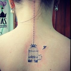 Birdcage tattoo. I love the simplicity of this one.....maybe add just one or two little flowers