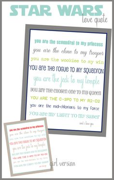 Star Wars love quote...Free Download  by Ellie Bean Design Blog