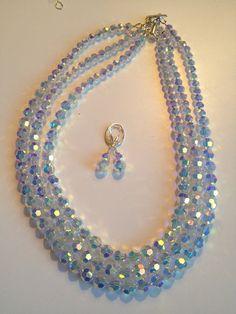 Swarovski Triple Strand Noemi Necklace by BeadedSoulByH on Etsy, $190.00