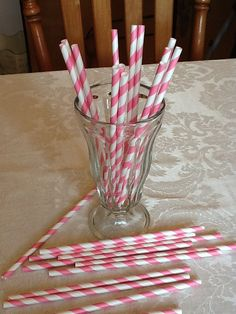 25 Piece Cotton Candy Pink Straws with Do It Yourself (DIY) Flags on Etsy, $4.00