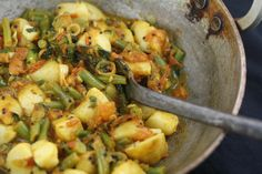 Stir Fried Potatoes and Green Beans with Mint