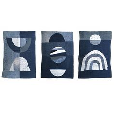 """Created with the intention to wave for all of mankind out of recycled denim scraps, this one-of-a kind quilt is meticulously hand made by artist Christi Johnson of Mixed Color (formerly Made of Dreams). Beautiful as a single hanging, even more powerful as a trio. 100% cotton with 100% cotton denim backing, hand embroidery. Machine washable. Denim Quilt measures 25"""" long, 18"""" wide. Hanging measures approximately 29"""" long. Hangs from cotton string attached to a wooden dowel with metal rings…"""