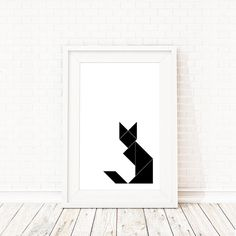 Tangram Poster Geometric Cat/Fox Print- Cat Print, black and white geometric print, abstract wall art, scandinavian print, minimalist poster
