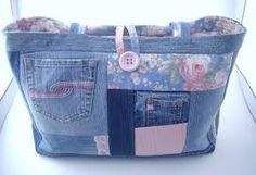 denim bag, recycled denim, recycl denim