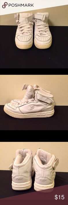 Boys Vintage White Allen Iverson Hi-Top Sneakers. All White Hi Top with a Ankle Strap and lace up. Leather with signs of wear on shoes and bottoms. Shoes in good condition. Reebok Shoes Sneakers