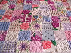 Vintage Chenille Baby orToddler Quilt Pink Periwinkle and Purple Posy