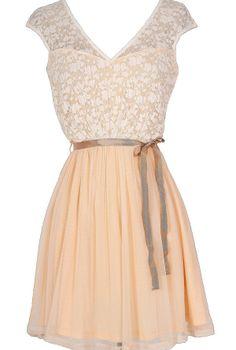 Sonoma Sunset Lace Dress in Cream/Peach