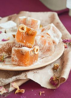 Turkish delight - recipe at home with photos Russian Desserts, Russian Recipes, Turkish Recipes, Candy Recipes, Sweet Recipes, Dessert Recipes, Delicious Cake Recipes, Cafe Food, How Sweet Eats