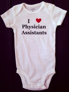 I heart physician assistants PA baby bodysuit gift by BlueBeltBaby, $12.00