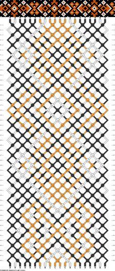 Friendship bracelet pattern - diamond, arrow, dot - 20 strings - 3 colors