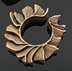 "Bangle/Bracelet | Anthony Roussel. ""Branch""  2000.  Laser cut sheets of birch wood"