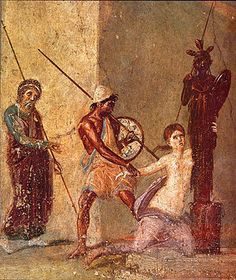 Scene from the trojan war: Cassandra clings to the Xoanon, the wooden cult image of Athene, while Ajax the Lesser is about to drag her away. Roman fresco from the atrium of the Casa del Menandro (I in Pompeii. Ancient Pompeii, Pompeii And Herculaneum, Ancient Art, Ancient History, Pompeii Italy, Classical Antiquity, Classical Art, Roman History, Art History