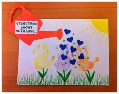 Saw this on the website of Playtown Indoor Playground. That is their handprint craft project.