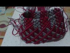 Cara Membuat Motif 3Dimensi TasTali Kur Part2 - YouTube Macrame Bag, Macrame Knots, Macrame Jewelry, Rope Crafts, Diy And Crafts, Micro Macramé, Macrame Tutorial, Macrame Patterns, Handmade Bags