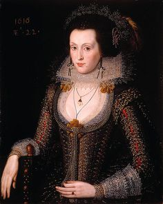 """Elizabeth Poulett, age 22"", 1616, by Robert Peake the Elder (English, 1551-1619). The sitter wears a jewelled and feathered caul, a type of indoor headdress. The spot on her face is a fashionable patch of velvet or silk, glued to her skin."