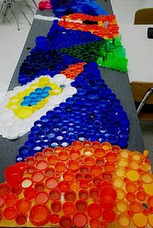 Bottle cap/lid recycling art project for our troop this Spring! From Art With Mr. E's blog...