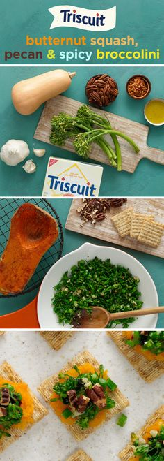 Add a little kick to your veggies with this spicy snack! Heat olive oil in small skillet on medium heat and stir in blanched broccolini, garlic, crushed red pepper and salt. Cook for 2 min. or until heated through, stirring frequently. Spread mashed butternut squash onto TRISCUIT Crackers, then top with broccolini, balsamic glaze & chopped pecans to finish. Click the image for the full recipe on Snackworks.com with directions to bake the squash & blanch the broccolini!