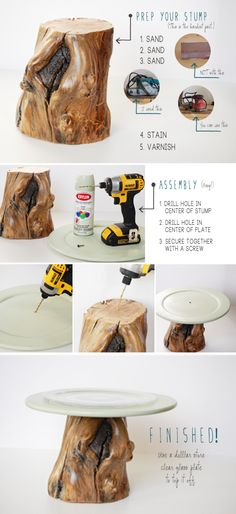 rustic wooden cake stand tutorial