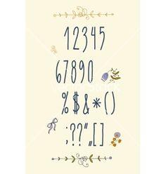 Decorative doodle alphabet and floral elements vector  by FarbaKolerova on VectorStock®