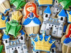 Medieval  birthday party Princess castle frog cookies by .Oh Sugar Events