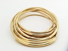Chic gold leather bangles!