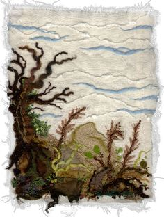 Kirsten Chursinoff Burns Bog  Fabric art, embroidery, couching, applique, beads, yarns, threads, hand spun yarn for the trunk and branches. www.chursinoff.com/kirsten/
