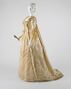 """Early American wedding dress made from silk. Label: """"Mme W. Thorne, Modes, Daniels and Fisher, Denver, Co. Bridal Gowns, Wedding Gowns, Wedding Tips, Wedding Bride, Victorian Fashion, Vintage Fashion, Vintage Dresses, Vintage Outfits, Reception Gown"""
