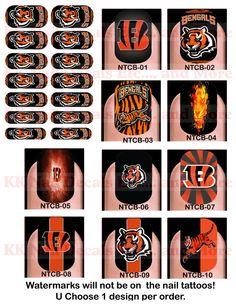 Nail Tattoo Decals - Cincinnati Bengals