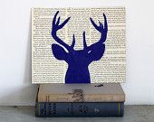 Moose Art with a Blue and White Geometric by FiddleheadsForFiona